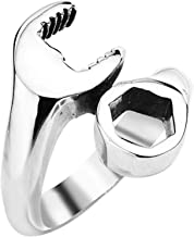 YABINI Jewelry Men's Punk Biker Polished Spanner Mechanic Wrench Tool Stainless Steel Ring Silver