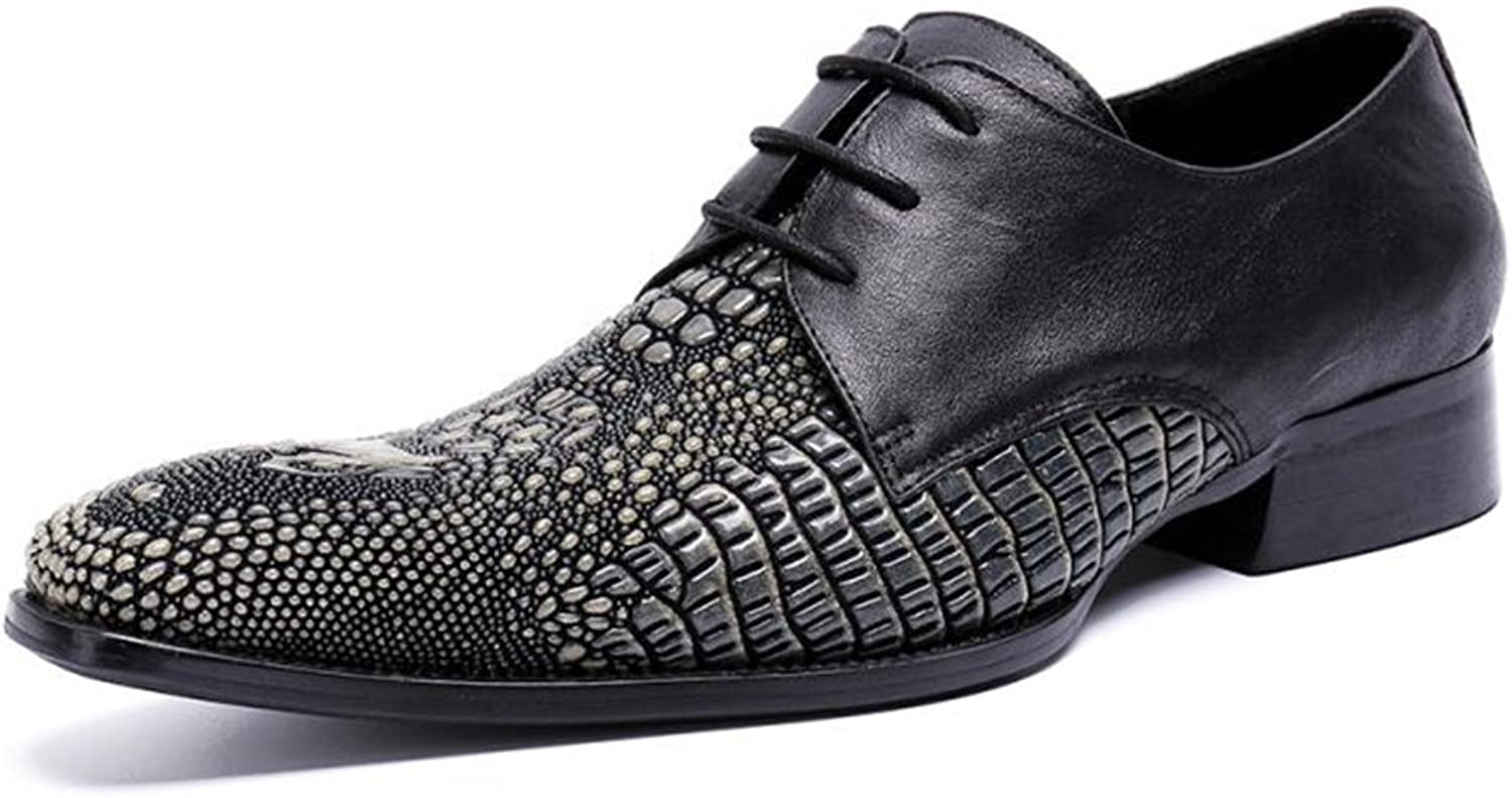 HUAN Men's shoes Leather Spring Fall Comfort Square Toe Oxfords Walking shoes Split Joint Lace-up for Casual Black (color   A, Size   40)