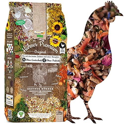 ChickenGold Hühner Premium Futter 10kg - ohne Gentechnik - mit Kräutern, Gemüse & Grit