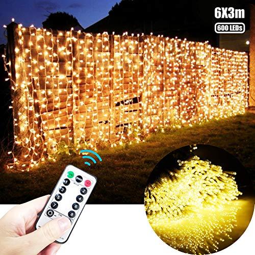 600 LEDs Lichtervorhang warmweiß 6X3M lichterkette außen - dimmbar Lichterkettenvorhang mit Timer strombetrieben, Lichternetz 8 Beleuchtungsmodi mit Fernbedienung für Party Hochzeit