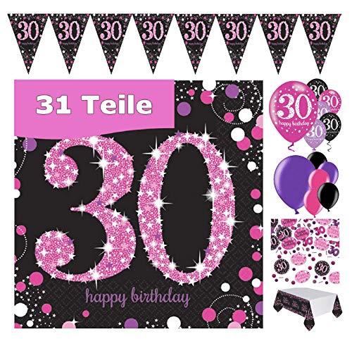 Feestelijke feesten verjaardagsdeco 30e verjaardag 31 delen deco-set luchtballon wimpel slinger confetti servet tafelkleed roze zwart paars metallic party-set