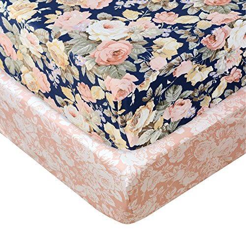 Brandream Shabby Floral Crib Sheets 2 Packs for Girls Blush Pink Flower Toddler Sheets Country Style Rose Soft Cotton Baby Bedding