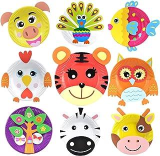 ULTNICE 1Set Paper Plate DIY Art Craft Educational Toddler Art and Craft Activity Craft Kit Animal Stickers for Toddler Kids