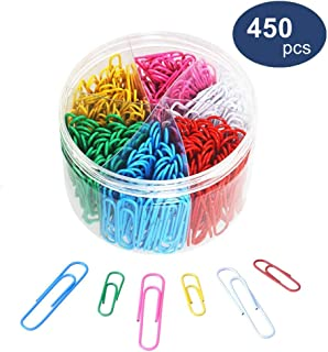 Paper Clips, OUHL 450 Pieces Colored Paperclips, Medium 28mm and Jumbo Sizes 50mm, 6 Assorted Colors Office Clips for School Personal Document Organizing Professional Work