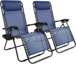 Niceway Ergonomic Zero Gravity Recliner Chair Lounge Chaise Reclining Lawn Chairs Blue Set of 2