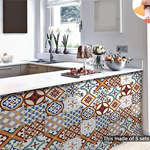Hiser Mármol Mosaico Adhesivos Decorativos Azulejos Pegatinas para Baldosas del Baño, 10 Piezas Cocina Estilo Marruecos Resistente al Agua Pegatina de Pared (Color 1,15 x 15 cm)