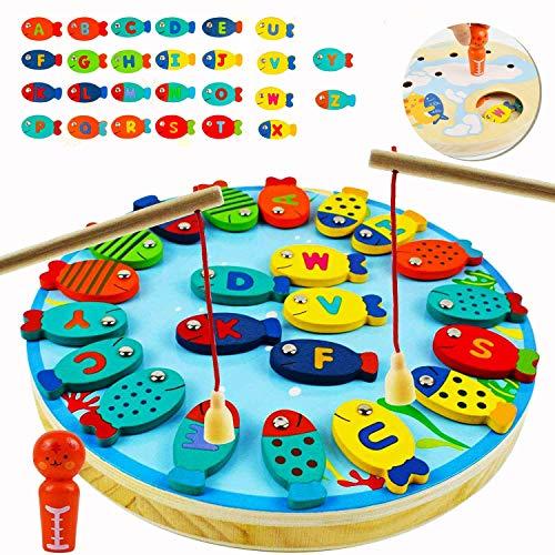 EPCHOO Magnetische Angelspiel 2 In 1, 30 Stück Angelspiel Holz Angelspiel Magnet Alphabet Brief Angeln Spielzeug Tischspiele Geschenk Lernspielzeug für 2 3 Jahren Mädchen Jungen Kinder