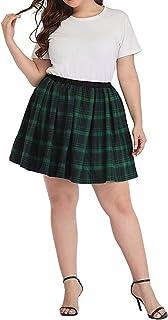 Xiaoqiao Plus Size Donna Plaid Schoolgirl Gonna Pieghe Mini Skater Gonne