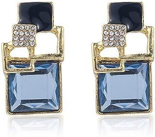OETY Fashion Women Girl Earrings Blue Statement Crystal Big Dangle Drop Earrings Jewelry Drop Earrings