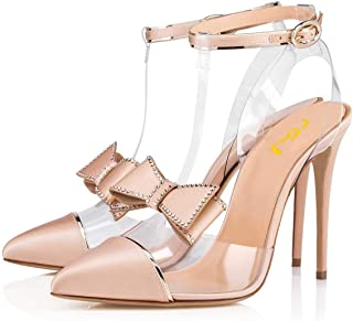 Women Clear T Strap Pointed Toe Stiletto High Heels Dress Pumps Sandals with Rhinestones Studded Bows Size 4-15 US