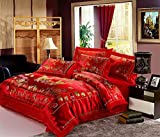 HNNSI 4pcs Wedding Bedding Sets Queen Size, Chinese RED Dragon and Phoenix Mandarin Duck Satin Lace Duvet Cover Set with Cotton Flat Sheet,Quit/Comforter Cover Sets(Queen, style2)