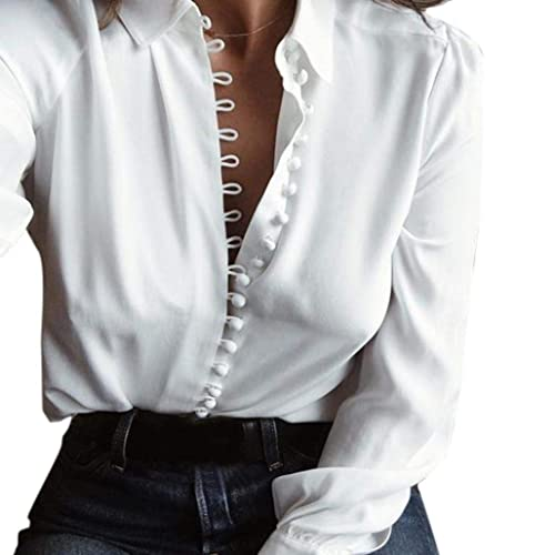 2f1a4745f VJGOAL Casual Long Sleeved Lapel Single Breasted Women Tops Women Casual Solid  Long Sleeves Blouse Lapel