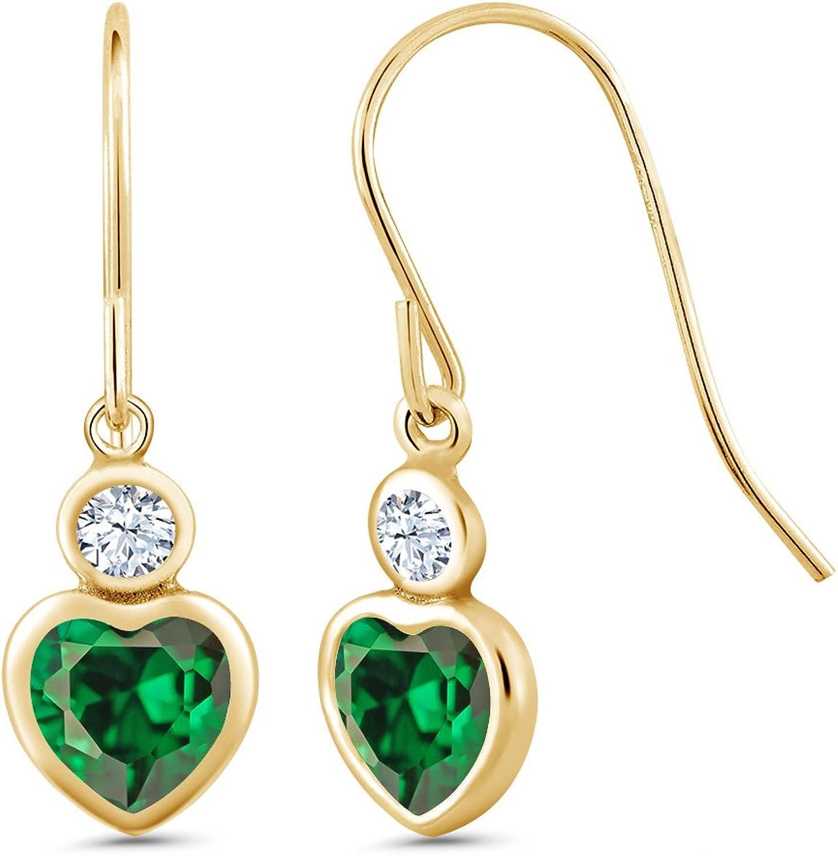 2.22 Ct Heart Shape Green Zirconia 14K Yellow gold Earrings