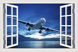 GreatHomeArt Removable Wall Sticker Decor Decals Airplane 3D Wall Murals Window View Removable Prints Poster for Kids Room...