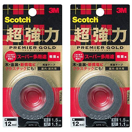 スコッチ 超強力両面テープ プレミアゴールド スーパー多用途 粗面用 12mm×1.5m KPR-12