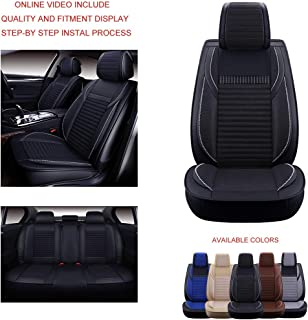 Oasis Auto OS-006 Universal Leather Seat Covers Car and SUV Cushion Automotive Vehicle Interior Accessory Replacement: Toyota-Nissan-Jeep-Hyundai-Mazda-KIA-Ford-Chevy-Acura-VW-Lexus-BMW