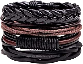 University Trendz Black Leather Dyed Rope Multi Strand Wrist Band Bracelet for Men & Women(Set of 4)(Black)