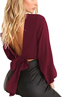 Women Bandage Tops Sexy Wrap Chest Deep V Long Sleeve Backless Tie Crop Top Short Blouses Shirts