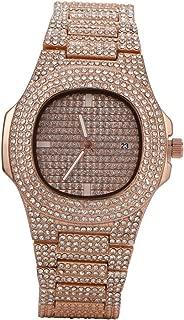 Baoblaze Men's Quartz Watch Fashion Full Crystal CZ Wrist Watch Analog Quartz Watch with Stainless Steel Band