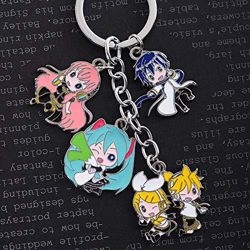 gerFogoo Anime Demon Slayer Kawaii Schlüsselanhänger Metallfiguren Schlüsselanhänger mit 5 Puppen für Taschen, Schlüssel und Federmäppchen (Stil 3)
