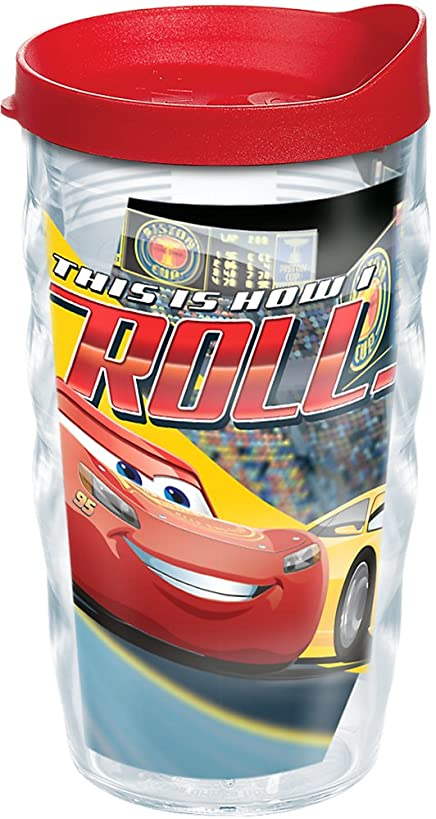 Tervis 1250200 DisneyPixar - Cars 3 How I Roll Insulated Tumbler with Wrap and Red Lid, 10 oz, Clear