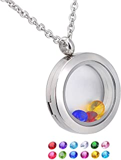 HooAMI Living Memory Floating Round Locket Pendant Necklace 316L Stainless Steel with 12 Birthstones