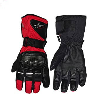 Redcolourful Moto Gloves Outdoor Sports Warm Plush Windproof Motorcycle Gloves Non-Slip Motorbike Gloves Red L Accessories