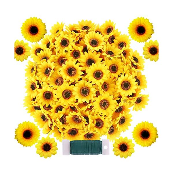 Woohome 120 PCS Girasoles Artificiales, 2 Talla Cabeza Girasoles Artificiales Amarillas Florales Pequeñas Girasoles…