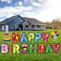 URATOT Happy Birthday Yard Signs Colorful Weatherproof Outdoor Lawn Yard Decorations with Stakes for Birthday Party
