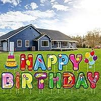 URATOT ハッピーバースデー ヤードサイン カラフル 防水 アウトドア 芝生 庭 デコレーション 杭付き 誕生日パーティー用