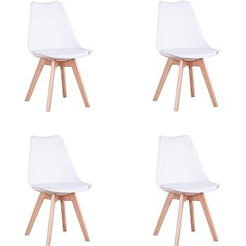 EGOONM Juego de 4 sillas, Silla de Comedor de Estilo nórdico, Apto para Comedor, salón y Cocina (Blanco)