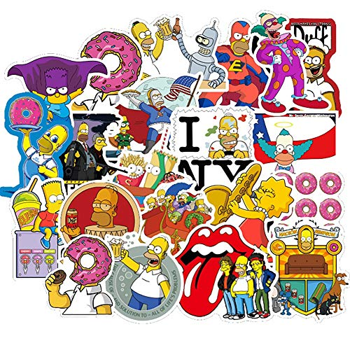 AXHZL Simpsons Cartoon Graffiti Stickers Car Motorcycle Travel Luggage Guitar Skateboard for Kid Classic Toy Joke Stickers 50 Pcs