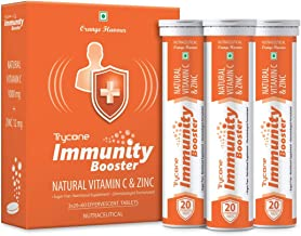 Trycone Immunity Booster – Natural Vitamin C 1000 mg with Zinc 12 mg – Antioxidant & Skin care- 60 Effervescent Tablets – ...