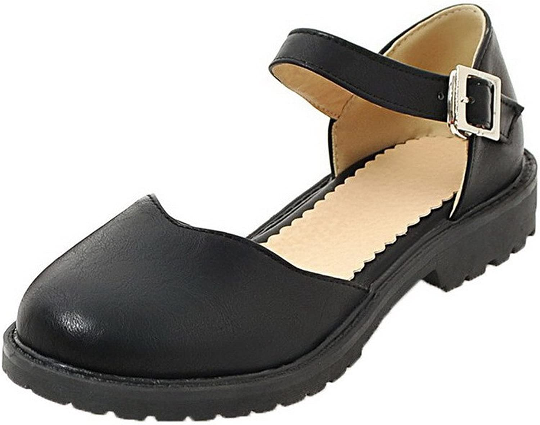 WeenFashion Women's PU Buckle Round-Toe Low-Heels Solid Sandals