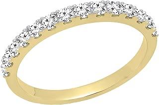0.50 Carat (ctw) 10K Gold Round White Diamond Wedding Anniversary Stackable Band 1/2 CT