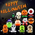 12 Pack Halloween Wind Up Toys for Kids, Assorted Novelty Jumping and Walking Clockwork Toys for Halloween Party, Favors Gift Goody Bag Filler Stocking Stuffers and Fun Decoration