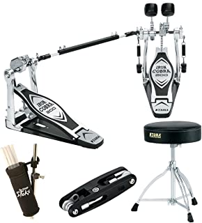 Tama HP200PTW Iron Cobra Double Pedal Deluxe Beginner Bundle, Includes Tama Drum Throne, Multi Drum Tool, Stick Bag and Drum Hammer