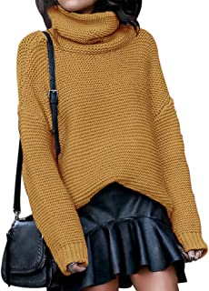 Litmoky Womens Casual Turtleneck Long Sleeve Chunky Knit Pullover Sweater Baggy Jumpers
