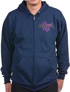 Proud Air Force Wife ABU - Zip Hoodie, Classic Hooded Sweatshirt with Metal Zipper