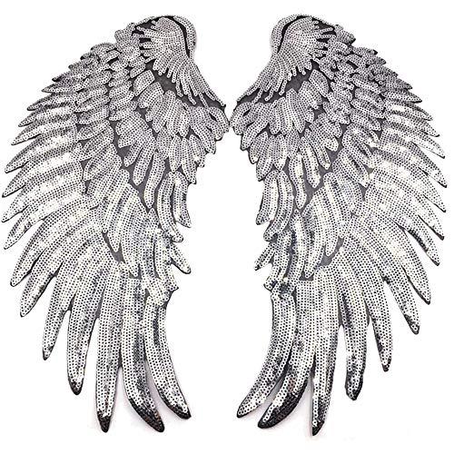 1 par de apliques de lentejuelas, parches grandes con purpurina, alas de ángel, parche bordado, diseño de alas de ángel, para ropa, para coser o planchar (plateado)