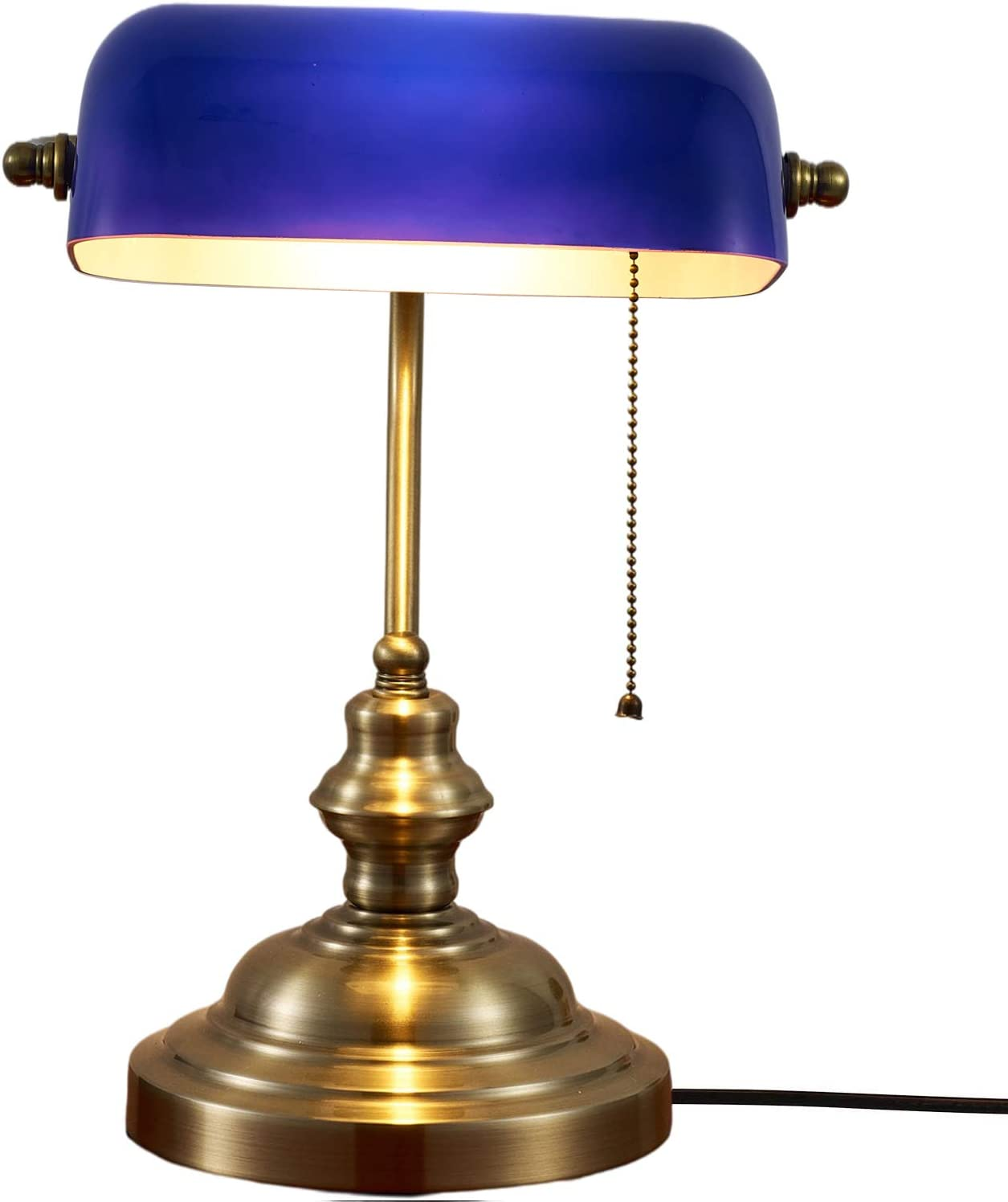 Classic Retro Bankers Lamp Traditional Pull Chain Switch Green Bronze Finish Antique Desk Lamps for Home Office Bedroom Bedside Nightstand Reading Study (Blue)