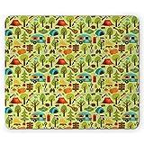 Happy Camp Mouse Pad, Elementos temáticos de la Naturaleza para Actividades al Aire Libre en la Hoguera de Camping, Verde pálido Multicolor