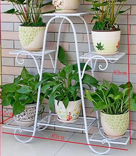 Porte-fleurs Support de fleur en métal Étagère de fleur de rez-de-chaussée à plusieurs étages Salon de balcon Support de fleur de plante d'intérieur porte plante (Couleur : 2)
