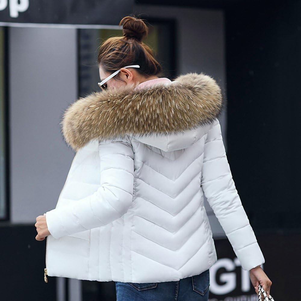 BAINASIQI Damen Daunenjacke Elegant Winter kurz Jacke Parka Steppjacke Einfarbig Kapuzenjacke Slim Hooded Outerwear Übergangsjacke Weiß