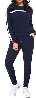 طقم بدلة رياضية للنساء من يونيفيز، بدلة جري مكونة من قطعتين هودي بسحاب + بنطلون
