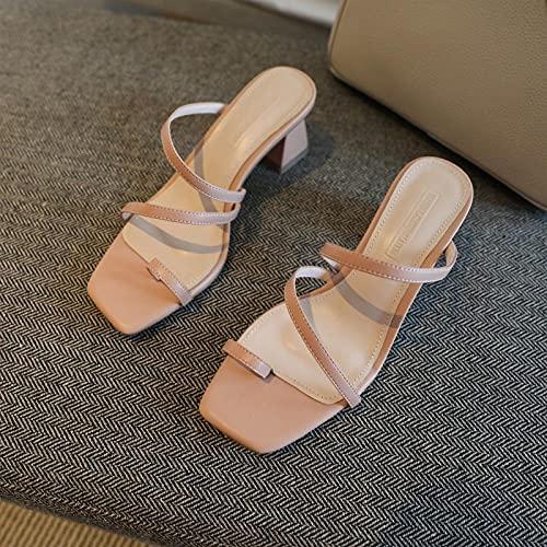 Sandalias con Tira Trasera,Piel de Oveja Gruesa con Tira de Punta Cuadrada con Zapatos de sandwalp, Zapatos Medios Zapatillas-Rosado_33,Pantuflas de baño