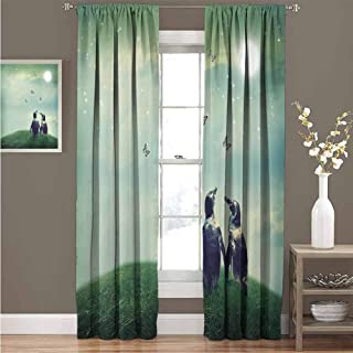 Surrealistic All Season Insulation Penguin Couple on Grass Warming Up with Sun Butterfly Hope Theme Noise Reduction Curtain Panel Living Room W72 x L72 Inch Hunter and Almond Green