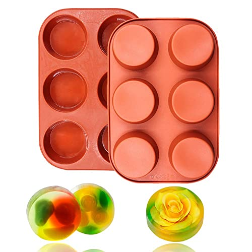 61d09d21df5c25 BAKER DEPOT 6 Cavity Round Silicone Mold for Muffin Cupcake