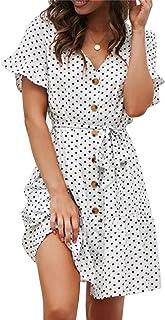 Sommerkleid Damen Kurzarm Elegant V-Ausschnitt Knopfleiste Polka Dot Kurze Strand Freizeitkleider mi Gürtel