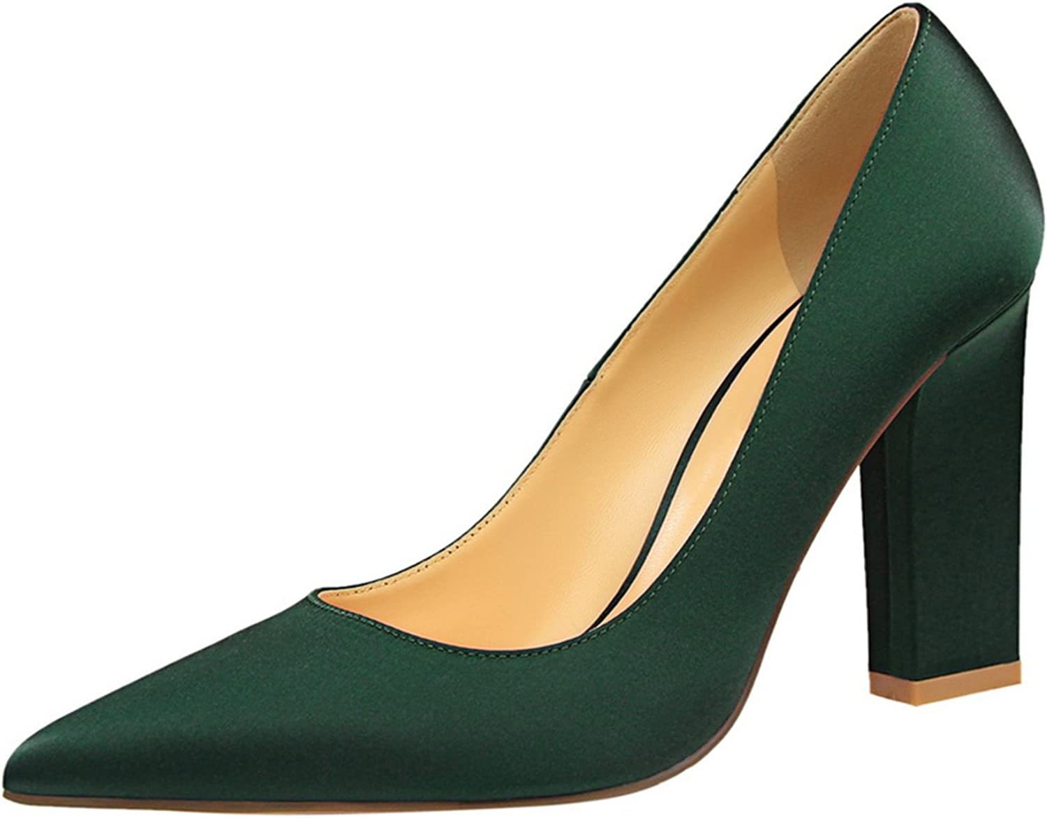 Carlos Foushee shoes Brand Women's Sexy Square Heel Pumps Pointed Toe Thick Heel High Heels Wedding shoes Woman Heels Valentine Pumps